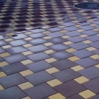 Тротуарная плитка Золотой Мандарин Квадрат большой 200х200х60 мм на сером цементе коричневый