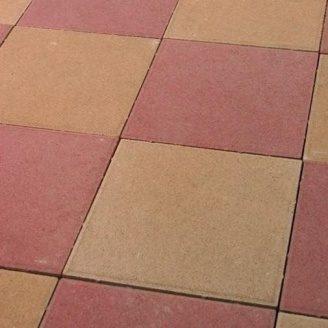 Тротуарная плитка Золотой Мандарин Плита 400х400х60 мм на сером цементе красный