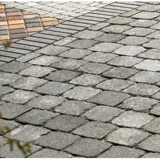 Тротуарная плитка Золотой Мандарин Квадрат Антик 160х160х90 мм серый