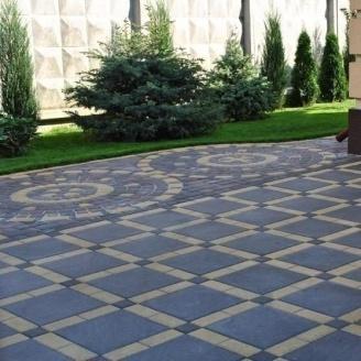 Тротуарная плитка Золотой Мандарин Плита 400х400х60 мм на сером цементе черный