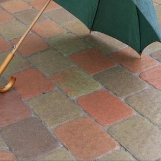 Тротуарная плитка Золотой Мандарин Старая площадь 160х40 мм на сером цементе горчичный