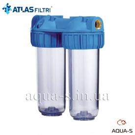 """Фильтр-колбы для холодной воды Atlas Filtri DP DUO TS Dn 3/4"""" 45° 10"""" двойная колба"""