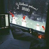 Новогодняя наклейка на окно к году крысы 2020 Веселые крысы со снежинками и текстом З Новим роком!