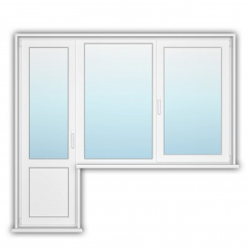 Балконний блок з открывным вікном Rehau 70 1200x1400 мм 700x2150 мм з енергозбереженням