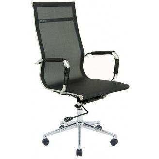 Офісне крісло Richman Кельн 1120-1180х580х640 мм Хром сітка Чорна