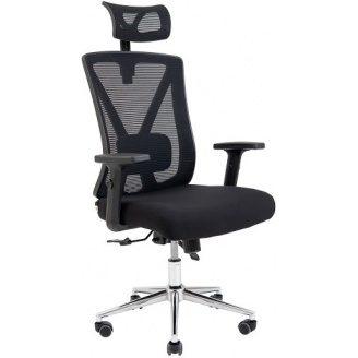 Комп`ютерне крісло Richman Інтер 1160-1240х670х580 мм Хром М2 спинка-сітка чорна