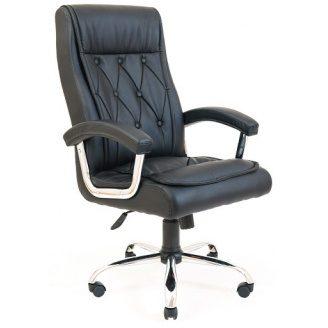 Офісне крісло Richman Телаві Хром 1130-1210х630х680 мм М2 чорний кожзам