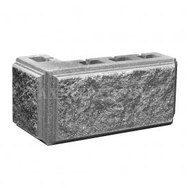 Блок Західтрансбуд Колотый камень угловой 390х190х95х90 мм серый
