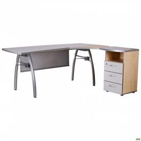 Стол с экраном М 470 АртМобил 1830х1670х760 мм клен и серый/кромка серый металлик/металлический карк