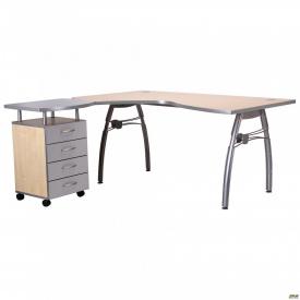 Стол с тумбой М96 АртМобил (1600х900/1630х760мм) клен/кромка серый металлик/металлический каркас