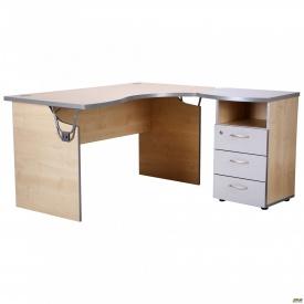 Стол с тумбой М432 АртМобил (1400х740/1420х760мм) клен/кромка серый металлик