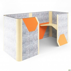 Кабина двойная Cabi фетр серый/фетр оранжевый белый беж