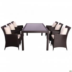 Комплект мебели Samana-6 из ротанга Elit SC-8849 Brown MB 1034 ткань A 13815