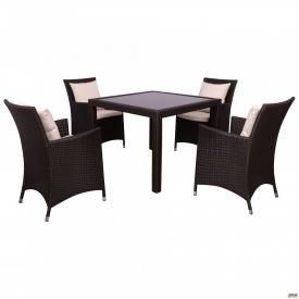 Комплект мебели Samana-4 из ротанга Elit SC-8849-S 2 Brown MB 1034 ткань A 13815