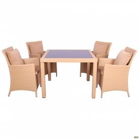 Комплект мебели Samana-4 из ротанга Elit SC-8849-S 2 Sand AM 3041 ткань A 14203