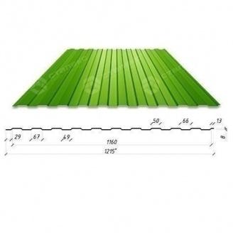Профнастил Сталекс С-6 1215/1160 мм 0,45 мм PE (RAL6002/зелений лист) (Китай)