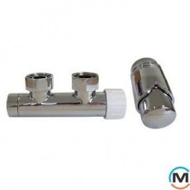 Комплект Schlosser Duo-Plex угловой правый, с нипелями-хром