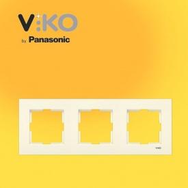 Тройная горизонтальная рамка VIKO Karre крем
