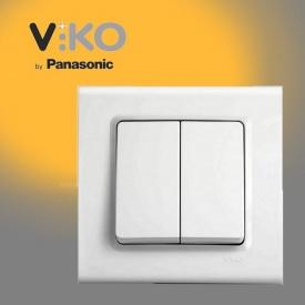 Выключатель двухклавишный VIKO Linnera белый