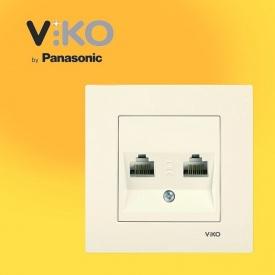 Розетка компьютерная двойная 2xRJ45 Cat5e VIKO Karre белый