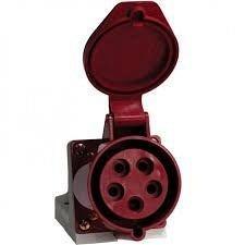 Розетка стаціонарних систем зовнішня 115 16А 240-415 В 5 контактов 3P+N+E червоний