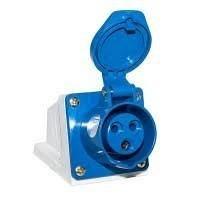 Розетка стаціонарна зовнішня 123 32А 220-250 В 3 контакти 2P+E IP44 синій