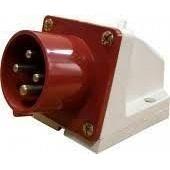 Вилка 524 стационарная 32А 380-415 В 4 контакты 3P+E IP44 красная