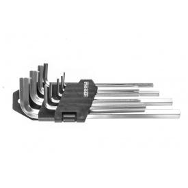 Набор Г-образных шестигранных ключей 1,5-10мм средние Хром