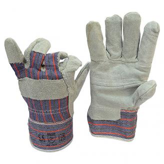 Перчатки рабочие замш с х/б тканевой вставкой