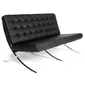Тримісний диван SDM Барселона 1820х780х800 мм екокожа чорного кольору