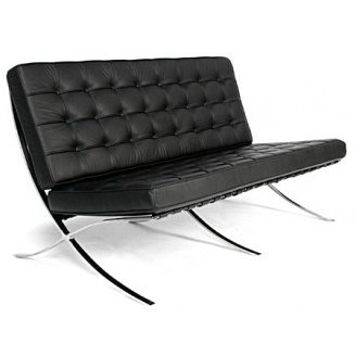 Трехместный диван SDM Барселона 1820х780х800 мм экокожа черного цвета