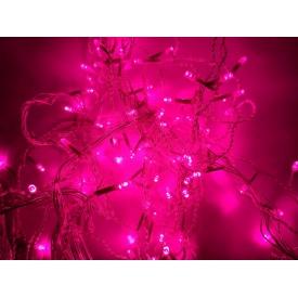 Новорічна гірлянда фасадна Ecolend 4x0,6 м IP44 світлодіодна рожева для вулиці під навісом (Ш406Р)