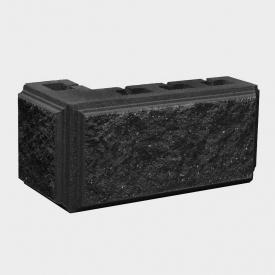 Блок Західтрансбуд Колотый камень угловой 390х190х95х90 мм графит