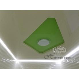 Натяжна стеля глянцева 0,17 мм біло-зелений