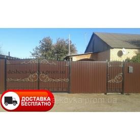 Распашные ворота с калиткой Код Z-0137 Дешевая ковка