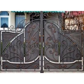 Ковані ворота з листочками А-0104 Дешева ковка