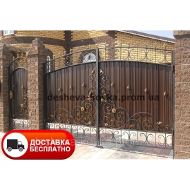 Ворота с профнастилом и коваными элементами