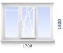 Вікно 1700x1400 мм з 3-хкамерного профілю WDS TRIO з однокамерним склопакетом