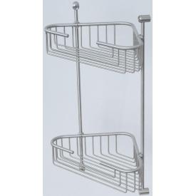 Полиця-решітка Metal shelves кутова двоярусна 21×21 см сатин (BR-202S)