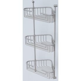 Полиця-решітка Metal shelves кутова триярусна 21×21 см сатин (BR-203S)