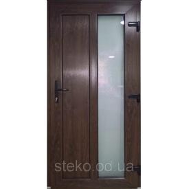 Входные двери ламинация в массе дуб тёмный 950x2050 матовое стекло