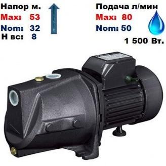Насос центробежный самовсасывающий JSP-505A Sprut 53/32 м 50-80 л/мин 220 В 1150Вт