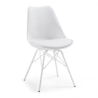 Пластиковий стілець SDM Тау 810х500х430 мм білий з м`якою подушкою ніжки метал-фарбований