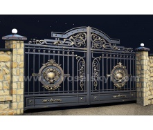 Ковані ворота new розпашні відкриті з литими центрами
