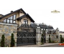 Ковані ворота відкатні закриті з аркою і хвірткою
