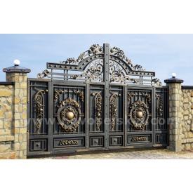 Кованые ворота new откатные закрыты с литыми центрами и акантовыми листами 2х4