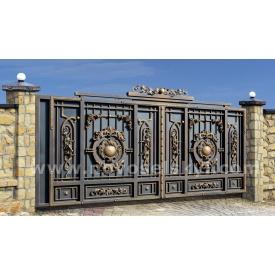 Кованые ворота new откатные закрыты с литыми центрами и акантовым листьям