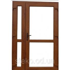Пластикові вхідні двері 2050х1400 Steko ламінація зовні золотий дуб