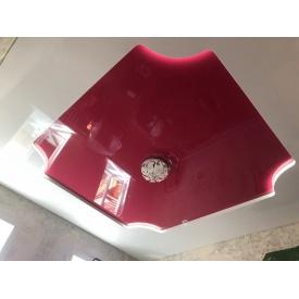 Натяжной потолок розовый глянцевый 0,18 мм
