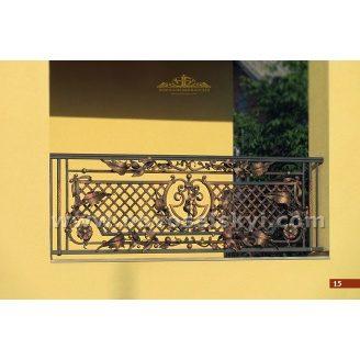 Коване огородження балкону пряме з сіткою А3115